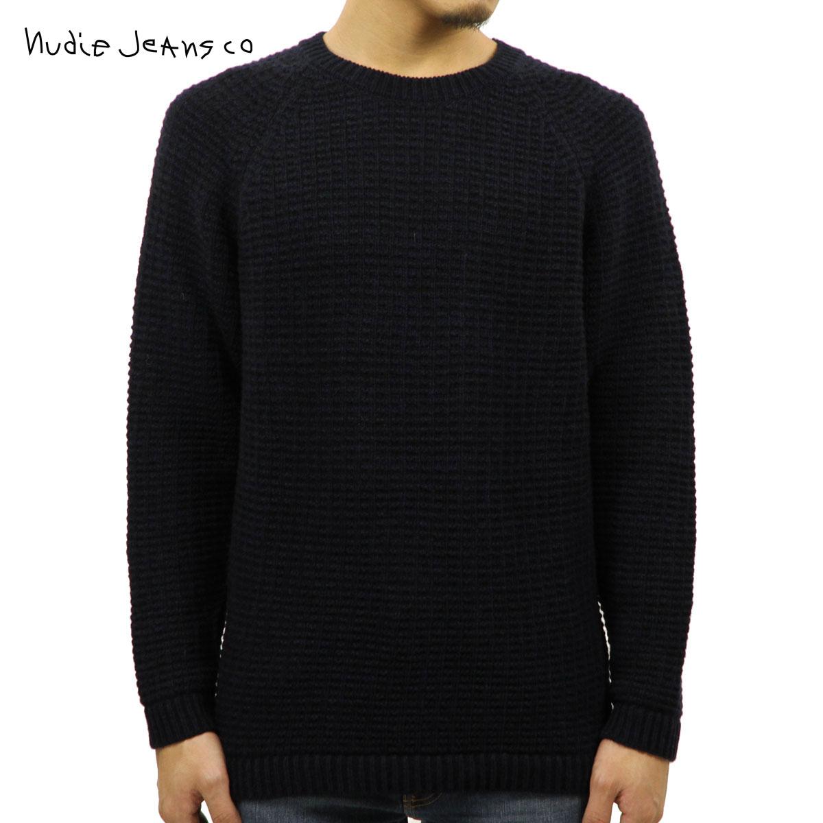 ヌーディージーンズ Nudie Jeans 正規販売店 メンズ セーター HANS STRUCTURE KNIT SWEATER 150327 6002 BLACK/BLUE