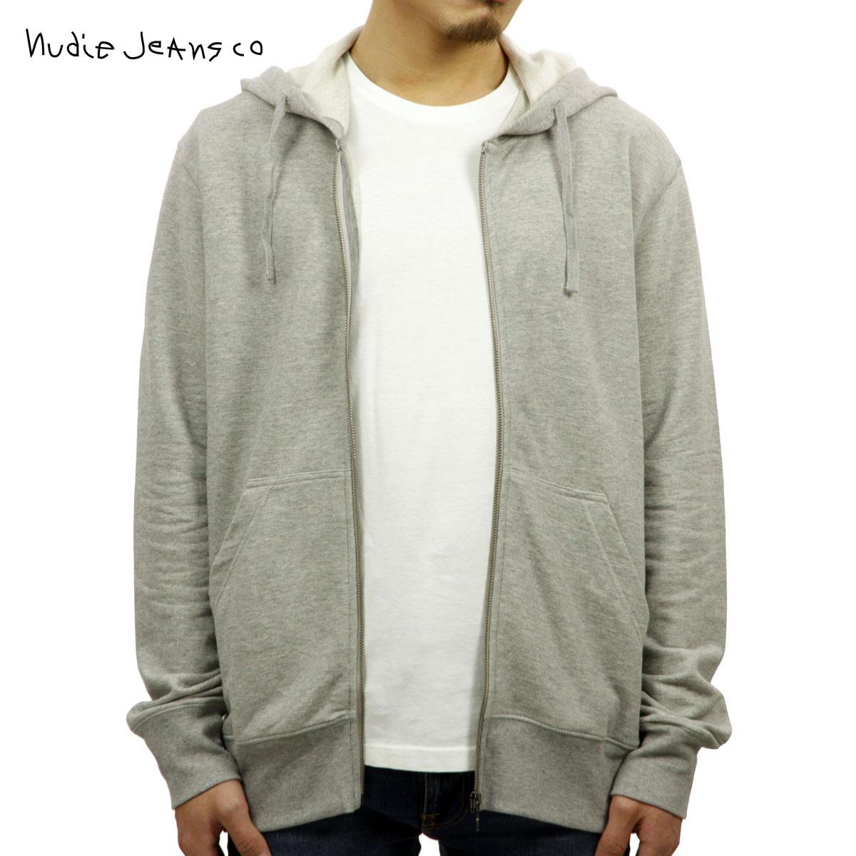 ヌーディージーンズ パーカー メンズ 正規販売店 Nudie Jeans ジップアップパーカー LOKE LIGHT ZIP HOOD PARKA GREYMELANGE B04 150324 4015