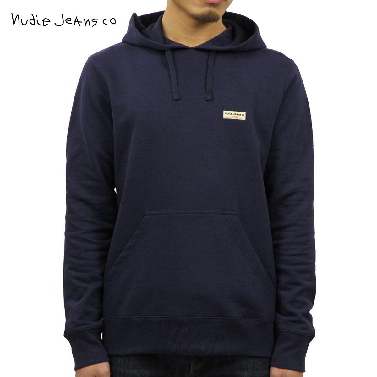 ヌーディージーンズ Nudie Jeans 正規販売店 メンズ プルオーバーパーカー EMMET LOGO HOODIE MIDNIGHT 150382