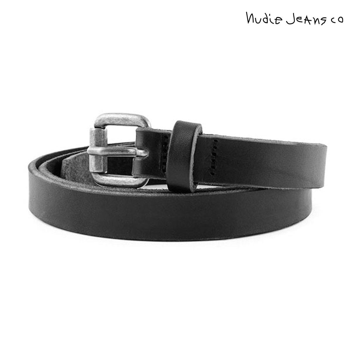 【ポイント10倍 6/4 20:00~6/11 01:59まで】 ヌーディージーンズ Nudie Jeans 正規販売店 メンズ ベルト DANSSON SLIM LEATHER BELT BLACK B01 180562 父の日