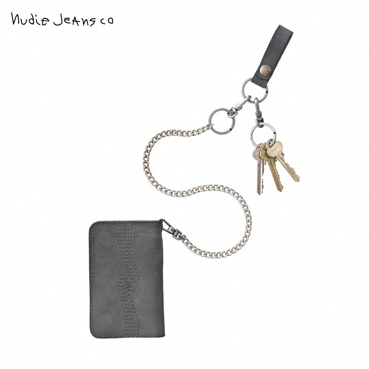予約商品 6月頃入荷予定 ヌーディージーンズ Nudie Jeans 正規販売店 メンズ レディース 財布 チェーン付き ALFREDSSON CHAIN WALLET GREY B03 180647 7025