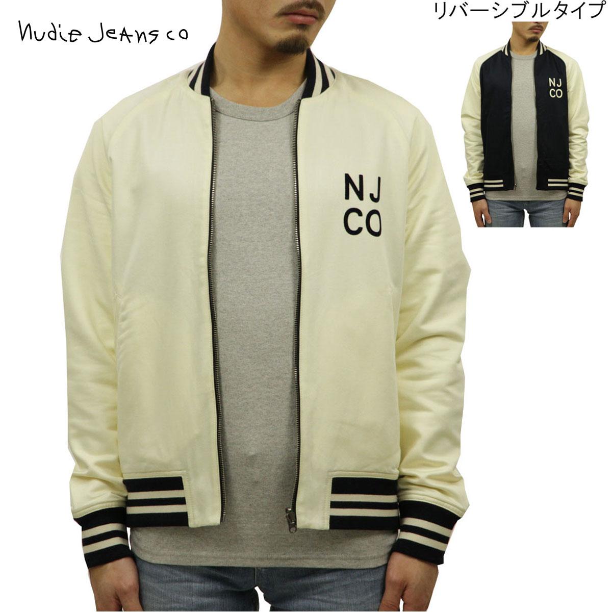 予約商品 6月頃入荷予定 ヌーディージーンズ Nudie Jeans 正規販売店 メンズ アウター スタジアムジャケット スタジャン MARK BASEBALL JACKET OFFWHITE/NAVY W19 160619 5020