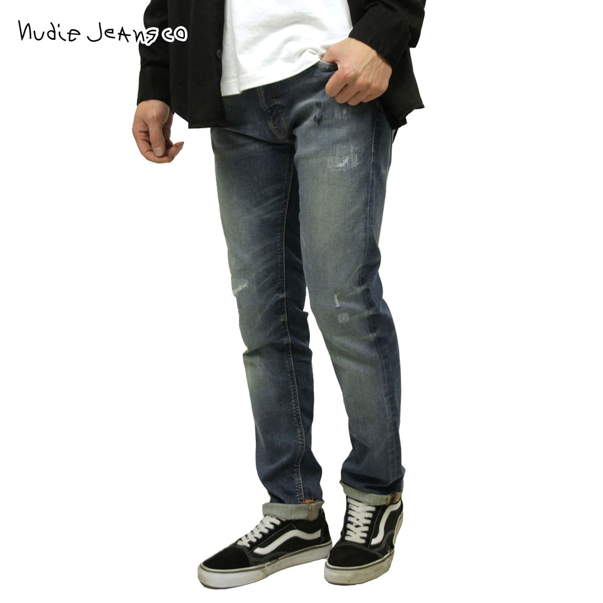 ヌーディージーンズ ジーンズ メンズ 正規販売店 Nudie Jeans シンフィン ジーパン THIN FINN DENIM JEANS AUTHENTIC REPAIR 034 113127:ブランド品セレクトショップ MIXON