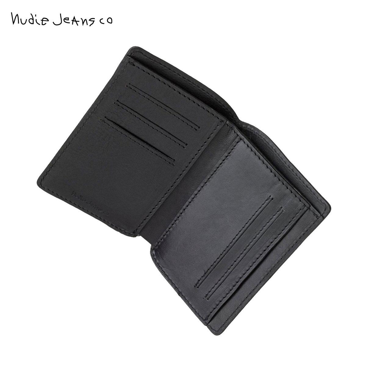 ヌーディージーンズ 財布 正規販売店 Nudie Jeans ウォレット 二つ折り 小銭入れあり MARK WALLET SADDLE LEATHER BLACK B01 180909 父の日