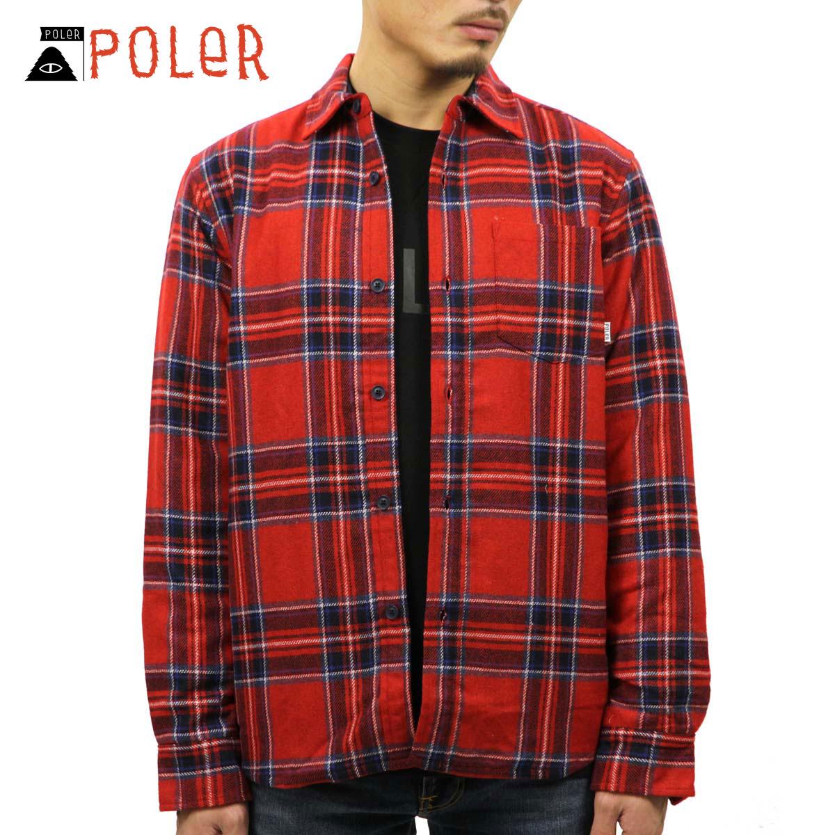 ポーラー POLER 正規販売店 メンズ 長袖シャツ TONIO SHIRT JACKET 21610001-RDS REDDISH