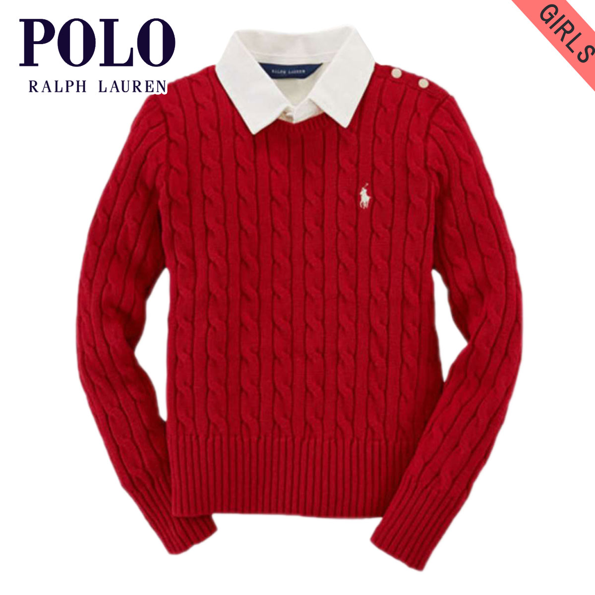 0ba5c80ef Poloralflorenkids POLO RALPH LAUREN CHILDREN genuine kids clothing girls Cardigan  CABLE-KNIT COTTON PULLOVER 48617306