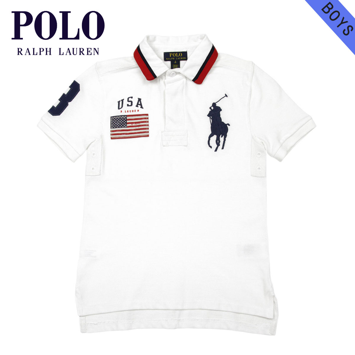 69abd9784e40 Polo Ralph Lauren kids POLO RALPH LAUREN CHILDREN regular article children s  clothes boys polo shirt BIG PONY BORDER S S POLO 323591400001 D00S20