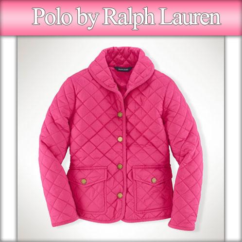 Poloralflorenkids 马球拉尔夫劳伦儿童真正孩子衣服女孩绗缝夹克披肩领绗缝夹克 #22469976 热粉红色 P15Aug15