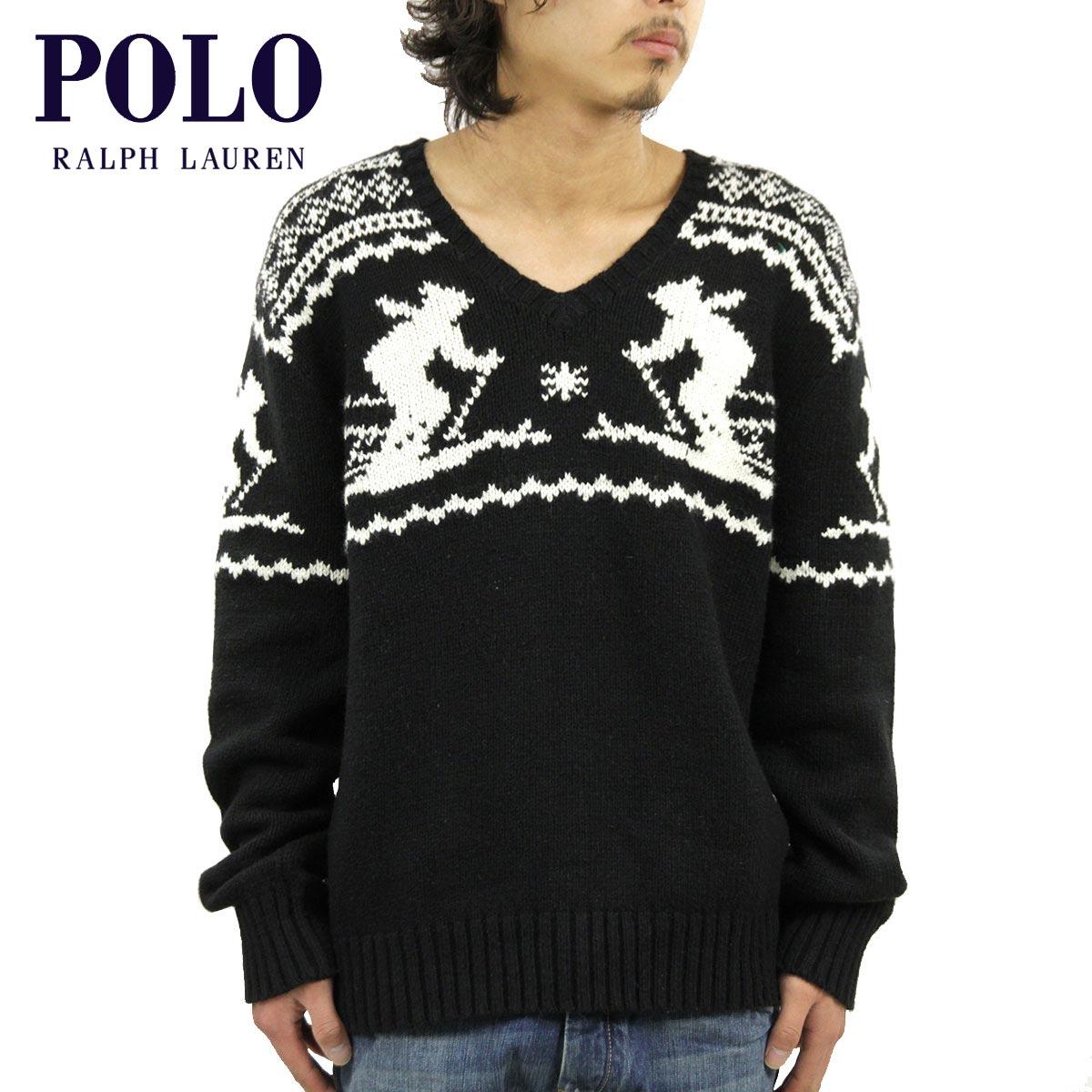 ポロ ラルフローレン POLO RALPH LAUREN 正規品 メンズ Vネックセーター Intarsia V-Neck Sweater ブラック D35S45