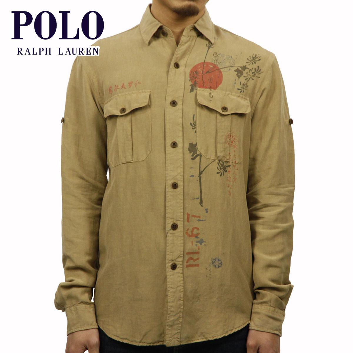 ポロ ラルフローレン POLO RALPH LAUREN 正規品 メンズ 長袖シャツ Custom Graphic Linen Shirt カーキ D20S30