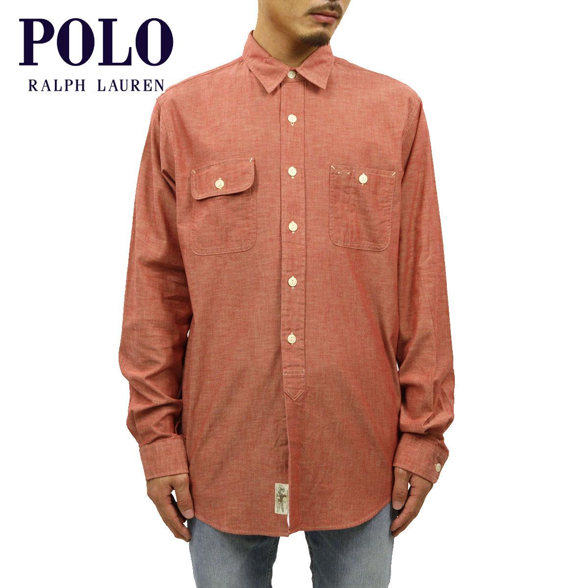 ポロ ラルフローレン POLO RALPH LAUREN 正規品 メンズ 長袖シャツ Chambray Shirt RED D20S30