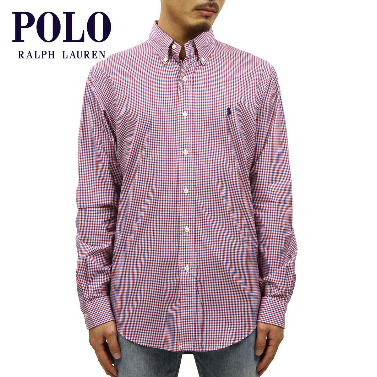ポロ ラルフローレン シャツ メンズ 正規品 POLO RALPH LAUREN 長袖シャツ ボタンダウンシャツ Custom-Fit Checked Shirt NAVY-WHITE-RED