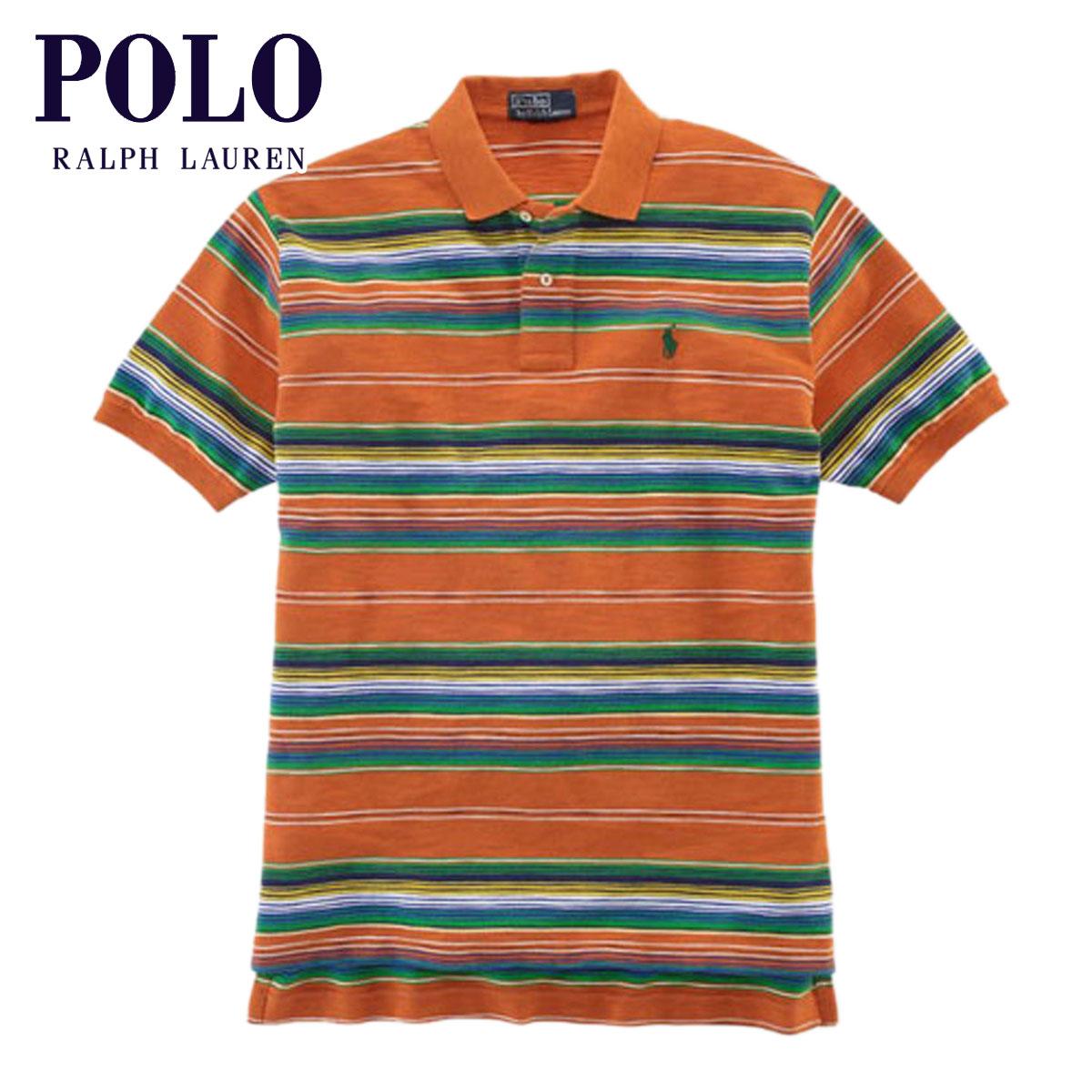 ポロ ラルフローレン POLO RALPH LAUREN 正規品 メンズ ポロシャツ Classic-Fit Multi-Striped Polo ORANGE D20S30