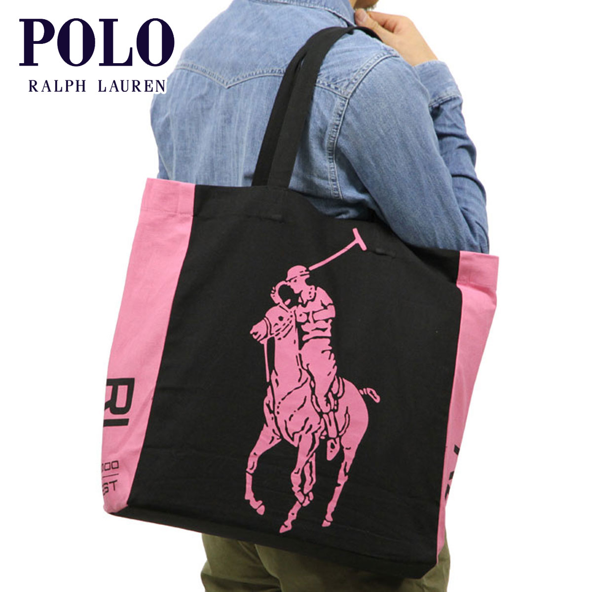 3353d93cbd Polo Ralph Lauren POLO RALPH LAUREN genuine tote bag PINK PONY TOTE BAG 38    42   13 cm BLACK P14Nov15