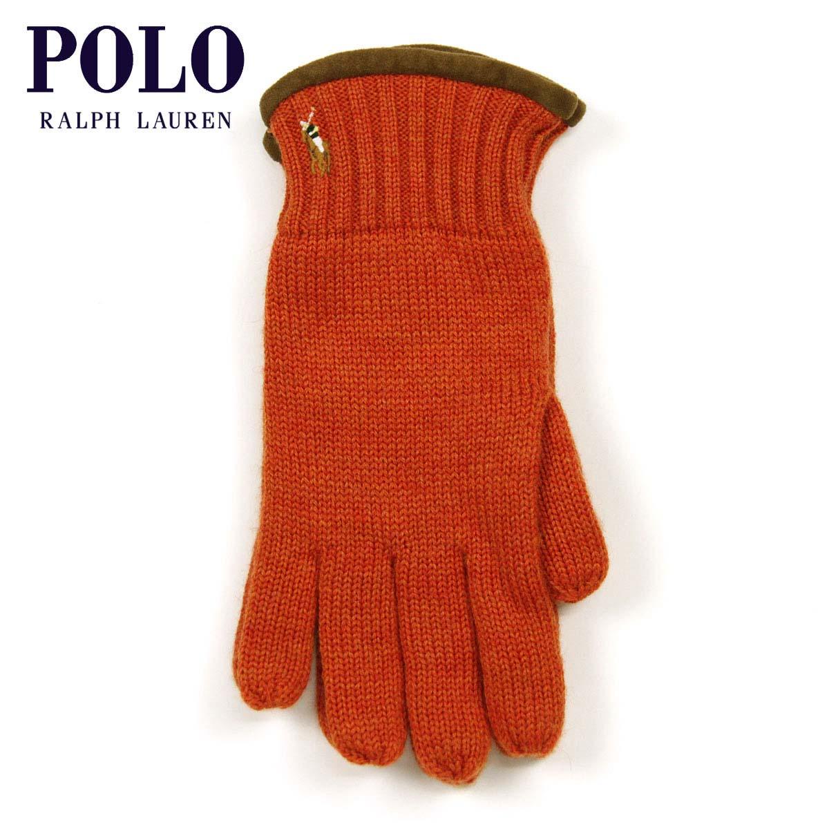 【販売期間 7/3 13:00~7/9 9:59】 ポロ ラルフローレン POLO RALPH LAUREN 正規品 手袋 Classic Merino Gloves ORANGE
