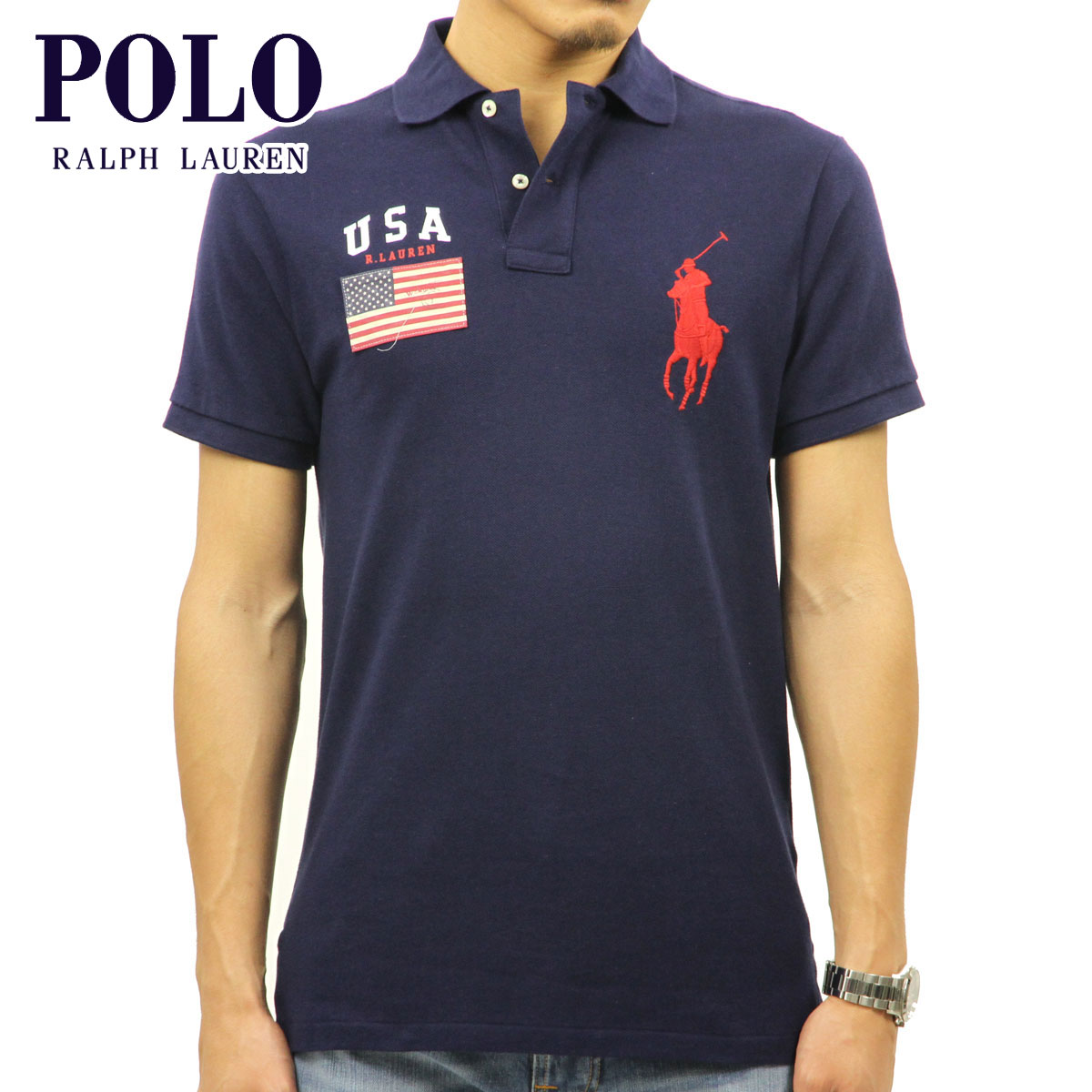 44262c09 Polo Ralph Lauren POLO RALPH LAUREN regular article men short sleeves polo  shirt CUSTOM-FIT ...