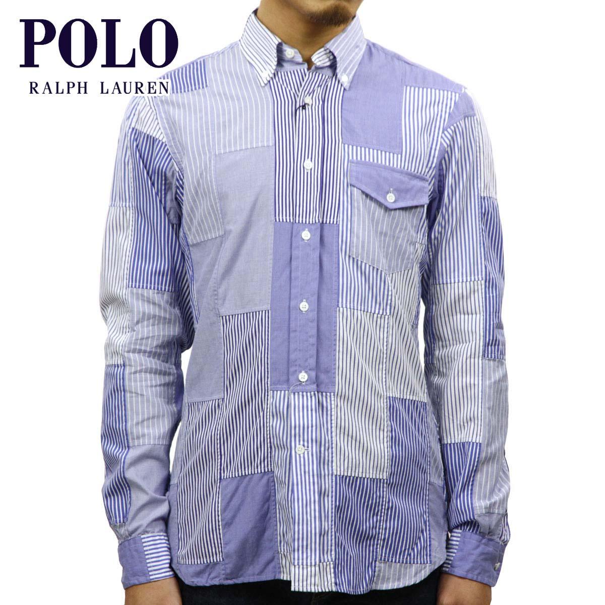 ポロ ラルフローレン POLO RALPH LAUREN 正規品 メンズ パッチワーク 長袖ボタンダウンシャツ CLASSIC FIT MADRAS PATCHWORK FUN SHIRT BLUE