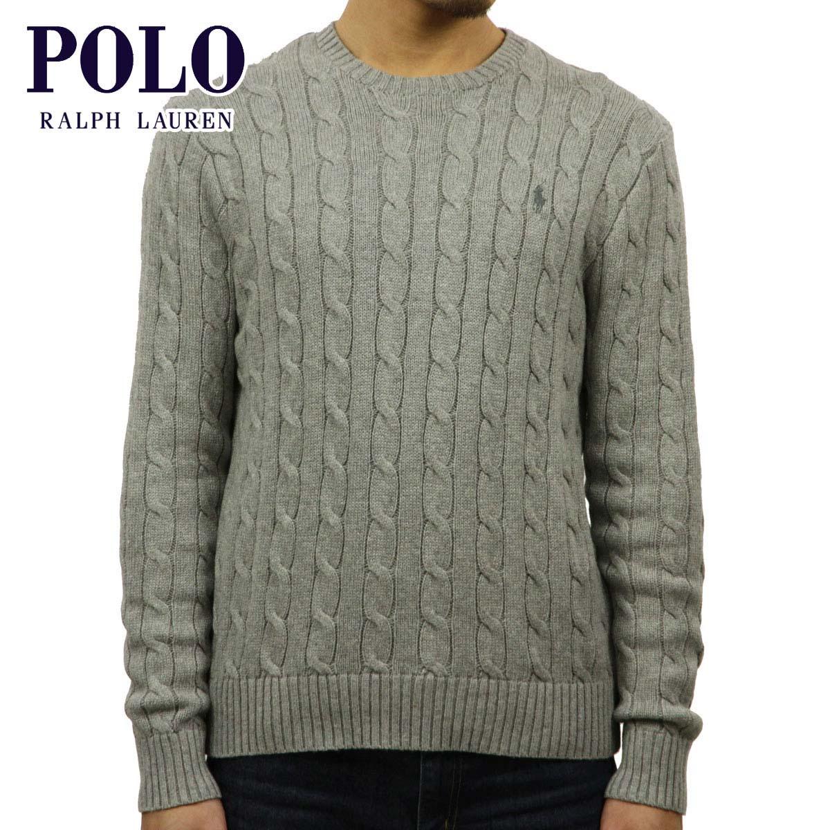 Men Ralph Lauren Cable Knit Article Neck Cotton Polo Sweater Crew Regular dxBQtCohrs