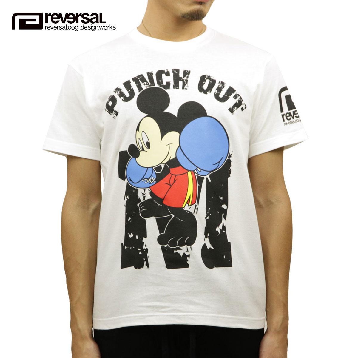 リバーサル Tシャツ メンズ 正規販売店 REVERSAL 半袖Tシャツ ミッキーマウスデザイン ボクシング クルーネック MICKEY MOUSE / BOXING TEERVMKY14AW003WHITE