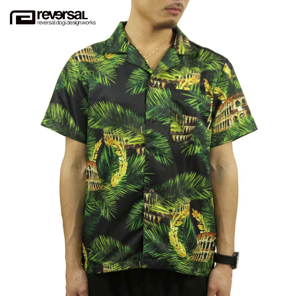リバーサル REVERSAL 正規販売店 メンズ 半袖シャツ PALM LEAF COLOSSEUM SHIRTS rvap15ss010 APPAREL D15S25