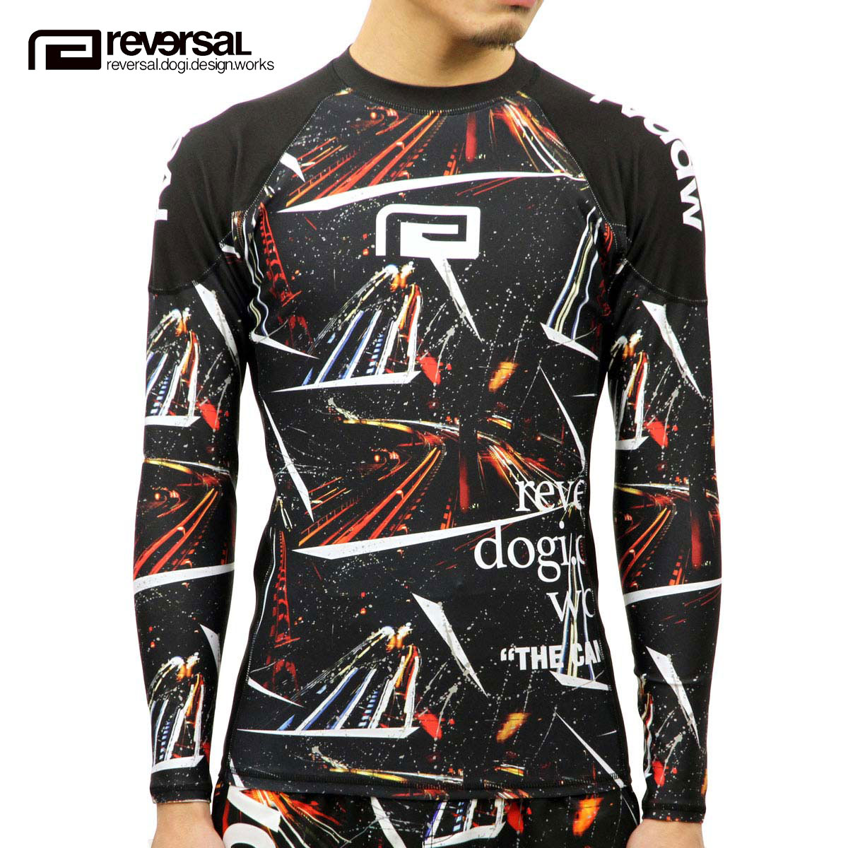 リバーサル REVERSAL 正規販売店 メンズ 長袖T シャツ NIGHT RACE LONG RASH GUARD rv17aw033 BLACK