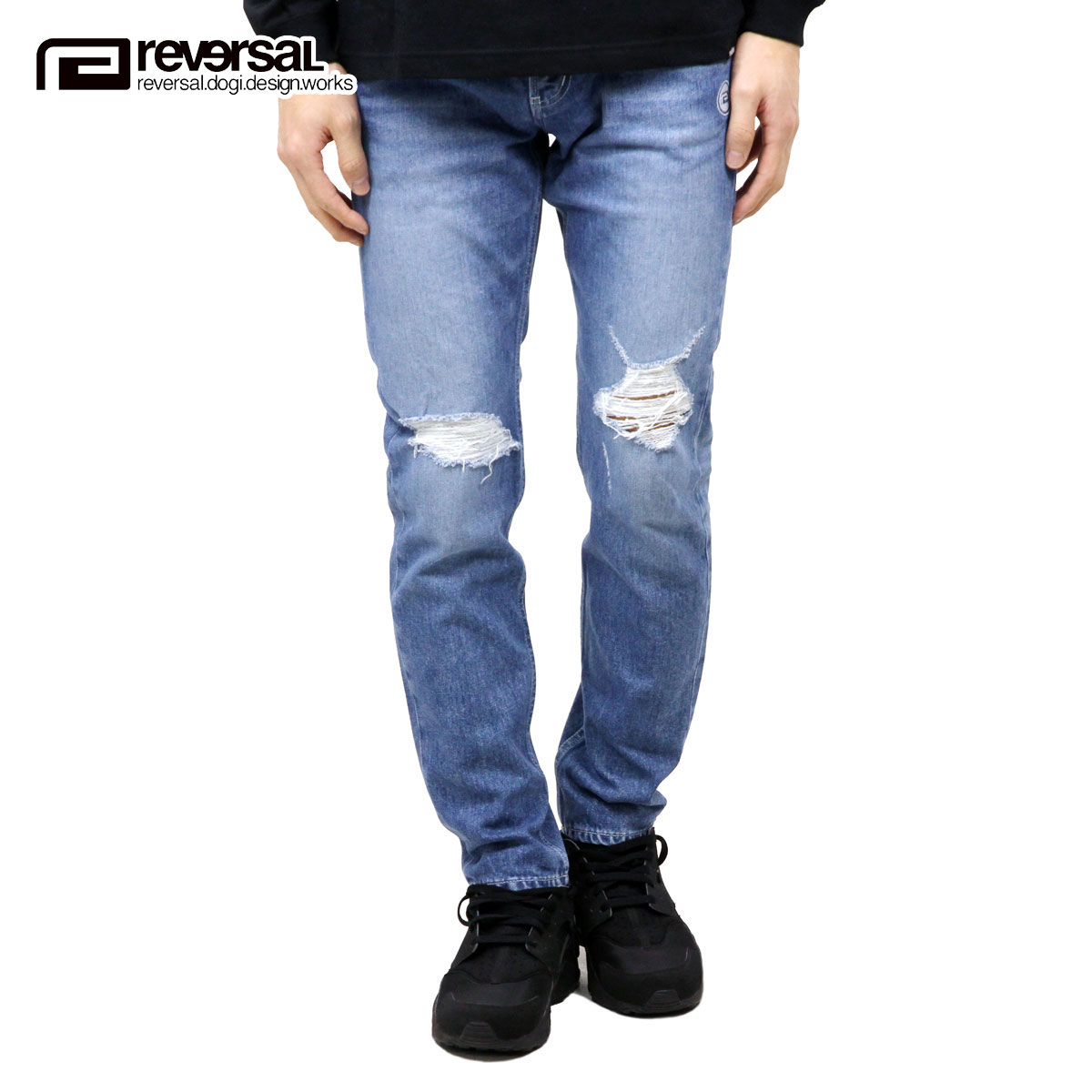 リバーサル REVERSAL 正規販売店 メンズ ジーンズ GI STRETCH DAMAGE DENIM rv17aw007 LIGHT INDIGO BLUE
