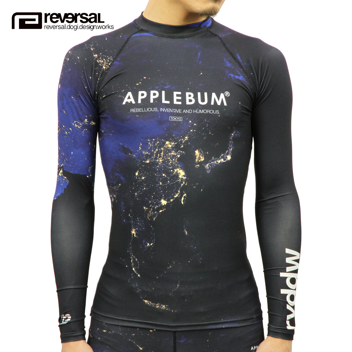 リバーサル REVERSAL 正規販売店 メンズ ラッシュガード APPLEBUM X RVDDW NIGHT EARTH RASH GUARD RVAB001 NIGHT EARTH