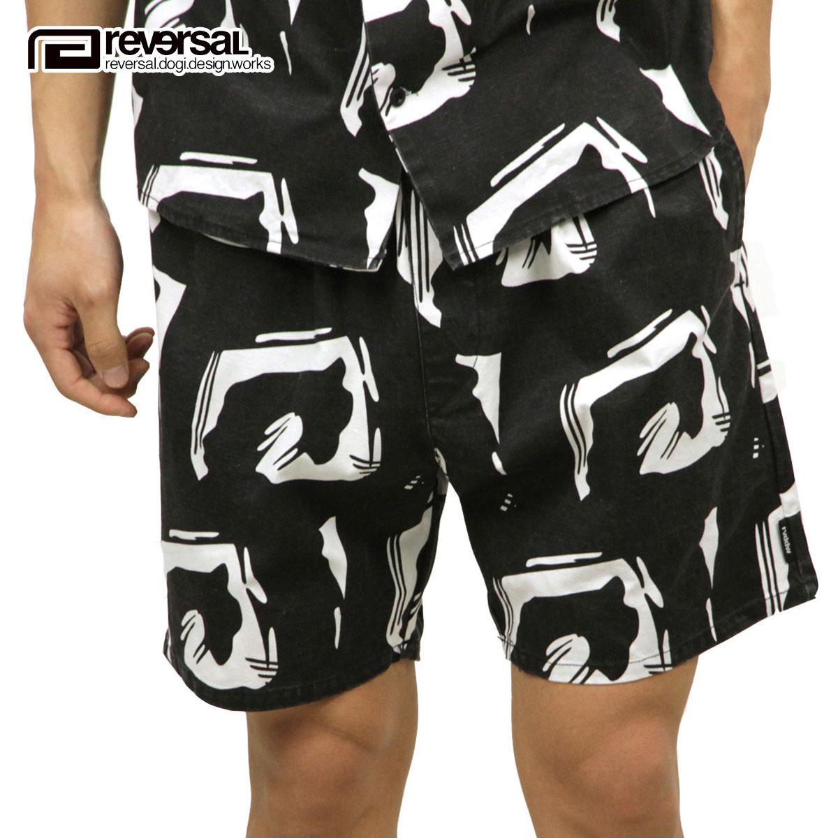 リバーサル REVERSAL 正規販売店 メンズ ロゴ柄 ショートパンツ EDO BIG MARK SHORTS rv18ss034 BLACK