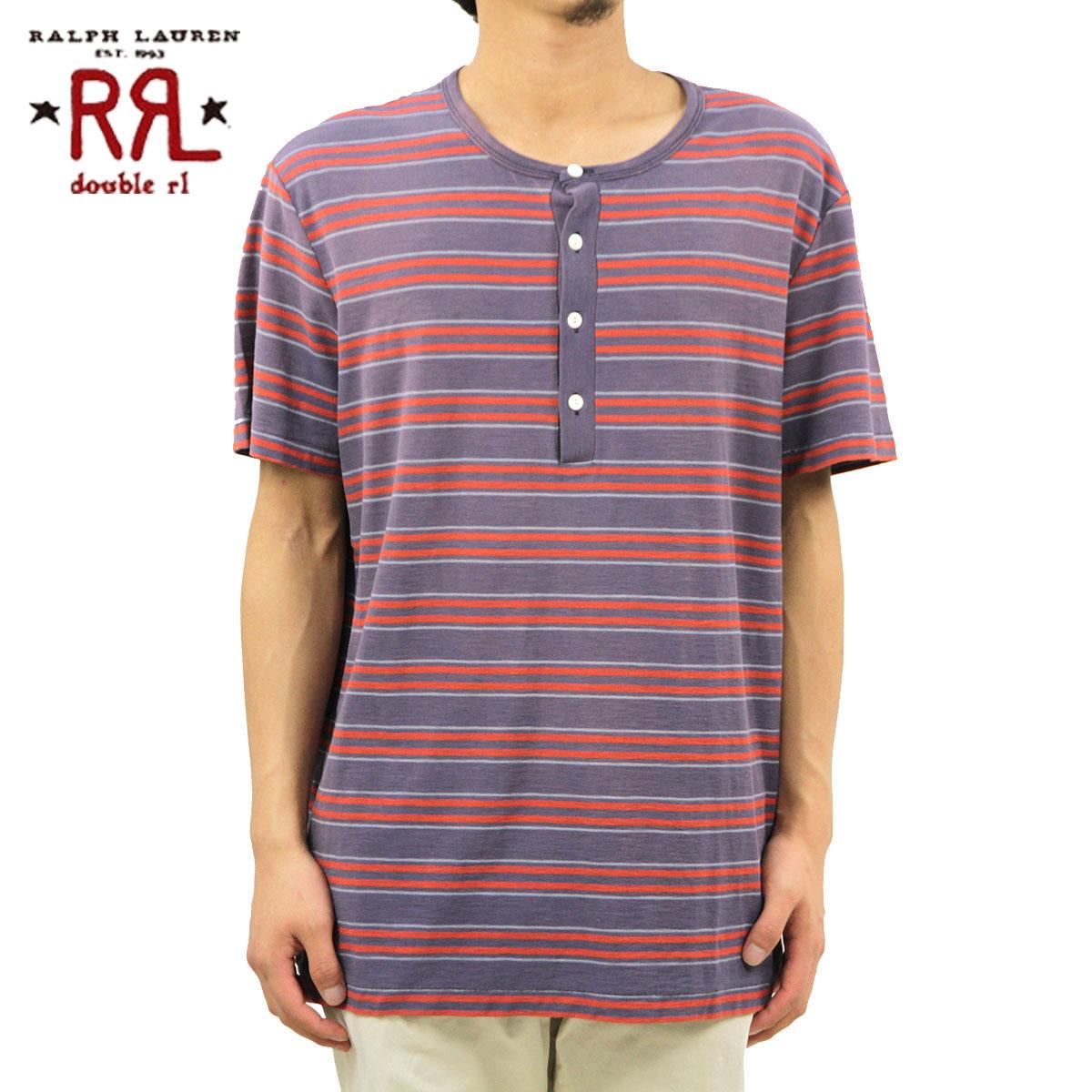 ダブルアールエル RRL 正規品 メンズ 半袖ヘンリーTシャツ Reverse Striped Henley NAVY D00S20