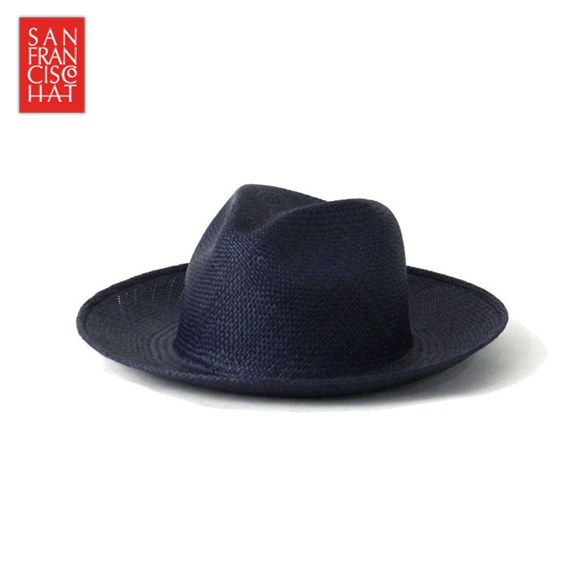 【販売期間 6/4 10:00~6/11 09:59】 サンフランシスコハット SANFRANCISC HAT 正規販売店 正規品 帽子 ハット BRISA FEDORA 8CM NAVY D15S 父の日