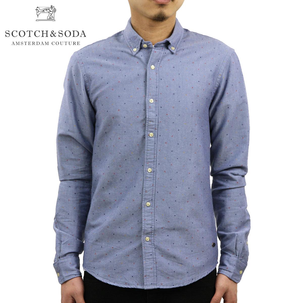 スコッチアンドソーダ SCOTCH&SODA 正規販売店 メンズ 長袖シャツ Classic shirt in rough oxford quality with all-over printed mini pattern 101405 20 D00S20