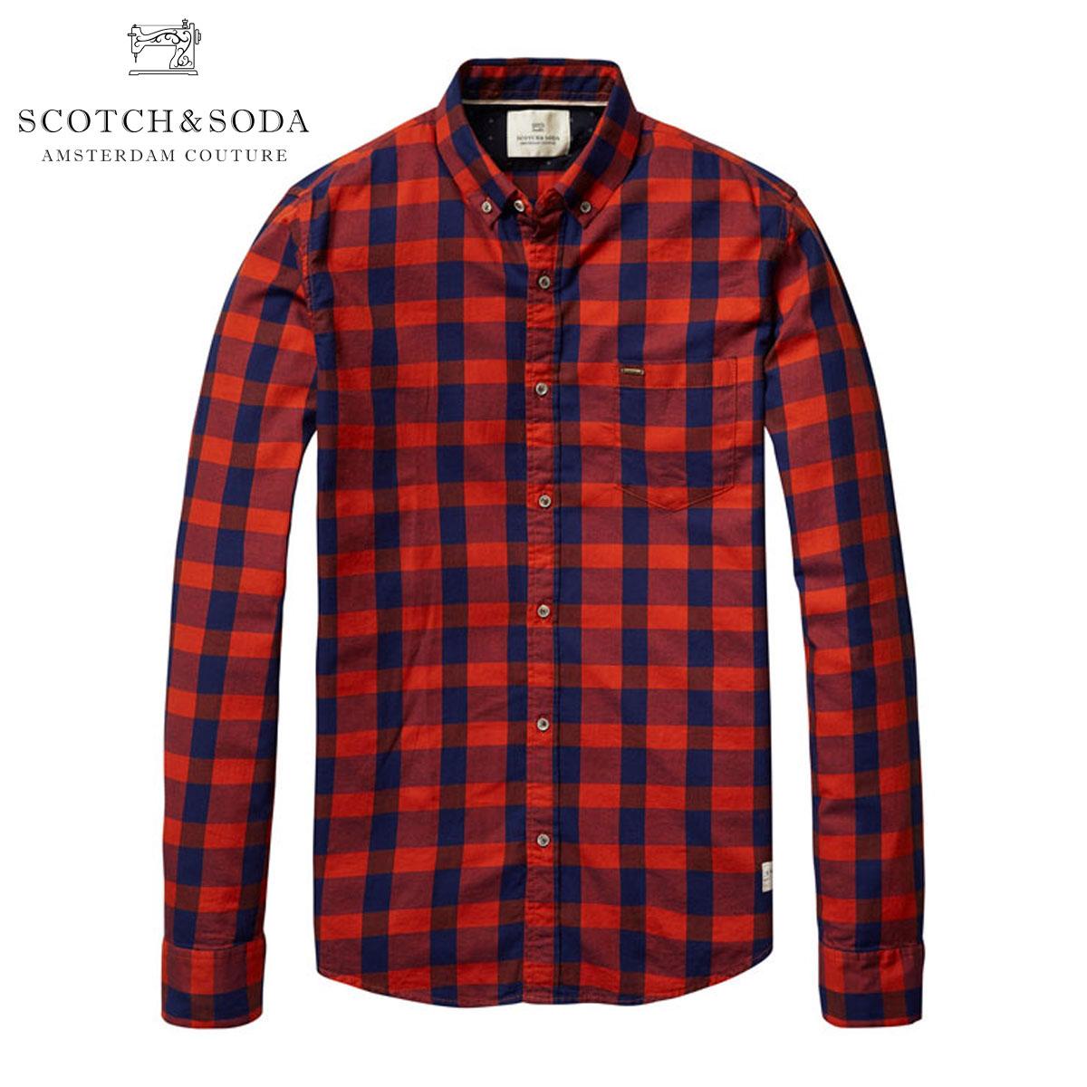 スコッチアンドソーダ SCOTCH&SODA 正規販売店 メンズ 長袖シャツ Button down shirt in brushed cotton quality 101417 2C D00S20