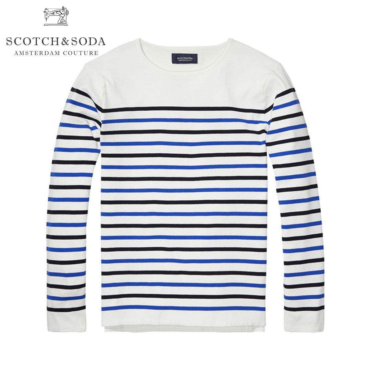 スコッチアンドソーダ SCOTCH&SODA 正規販売店 メンズ セーター Uni Blauw Breton Stripe Knit 100624 A1 D00S20