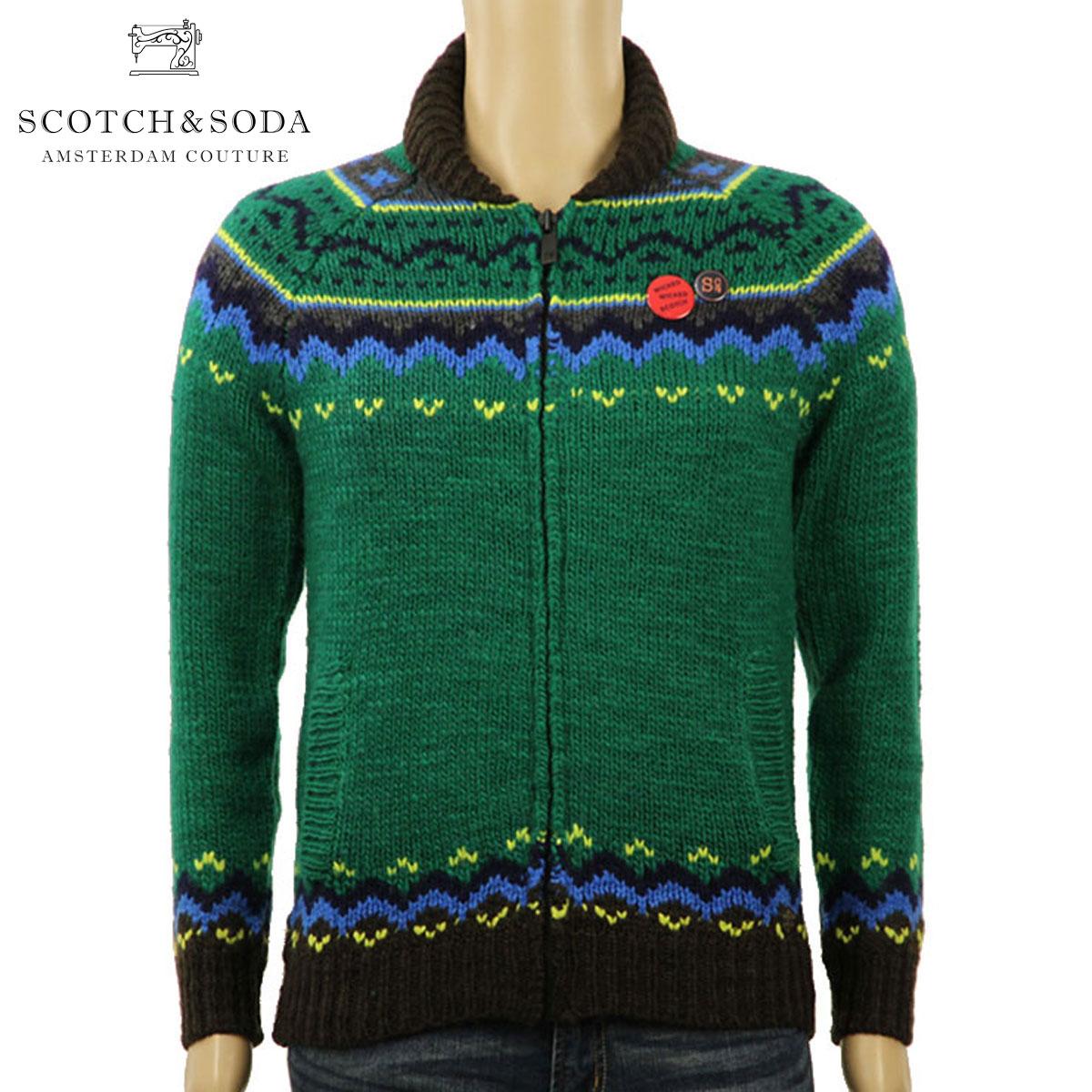 スコッチアンドソーダ SCOTCH&SODA 正規販売店 メンズ セーター Zip-thru cardigan in chunky slub yarn knit 101655 17 D00S20