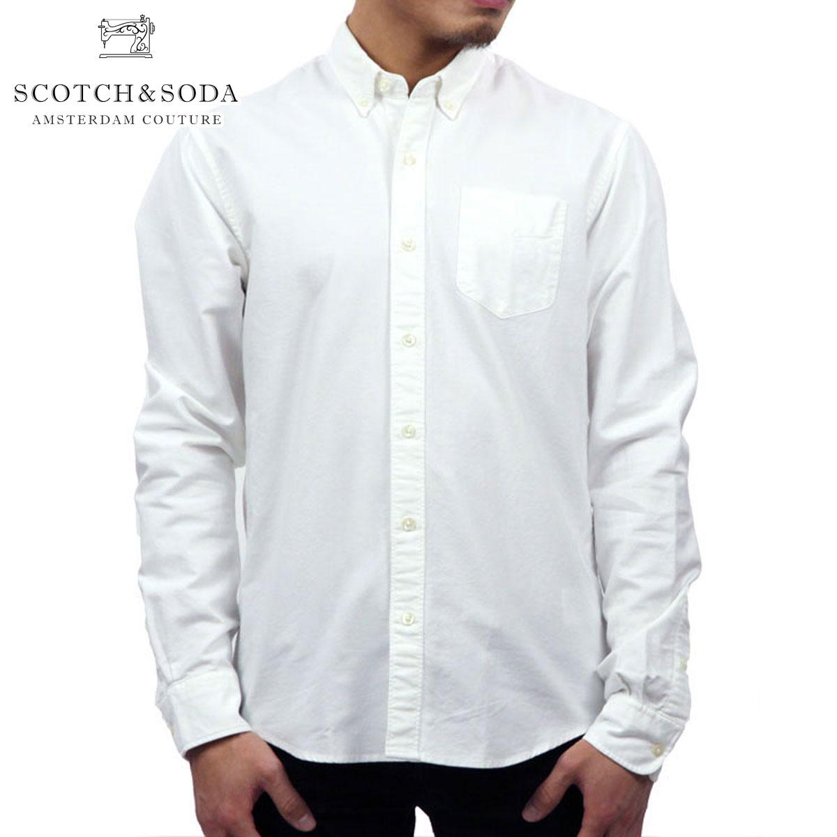スコッチアンドソーダ SCOTCH&SODA 正規販売店 メンズ 長袖シャツ CLASSIC BUTTON DOWN OXFORD SHIRT 132491 00 WHITE