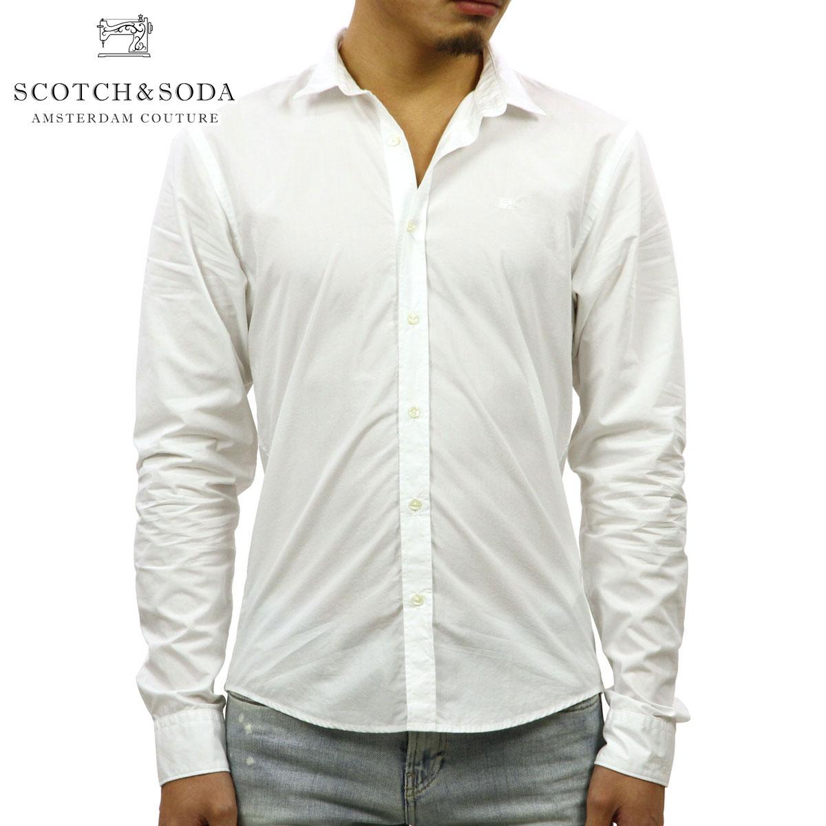 スコッチアンドソーダ SCOTCH&SODA 正規販売店 メンズ 長袖ドレスシャツ CRISPY POPLIN CLASSIC SHIRT 139561 0006 41409 WHITE