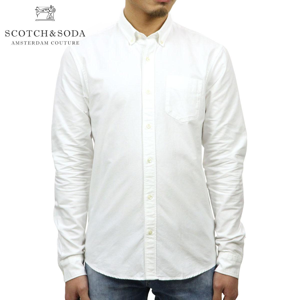 スコッチアンドソーダ SCOTCH&SODA 正規販売店 メンズ 長袖ボタンダウンシャツ BASIC NOS CLASSIC BUTTON DOWN OXFORD SHIRT 132491 00 WHITE