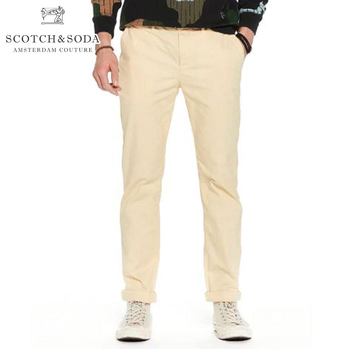 スコッチアンドソーダ チノパン メンズ 正規販売店 SCOTCH&SODA ボトムス STUART IN PEACHED TWILL WITH BELT 144972 43 61500 SUNSET YELLOW D
