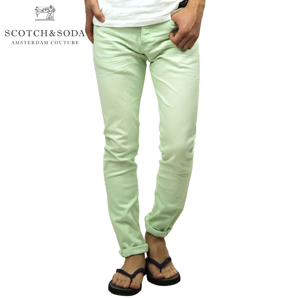 スコッチアンドソーダ SCOTCH&SODA 正規販売店 メンズ スリムデニムパンツ RALSTON SLIM GARMENT DYE COLOUR PANTS 144843 50 65514 MINT D