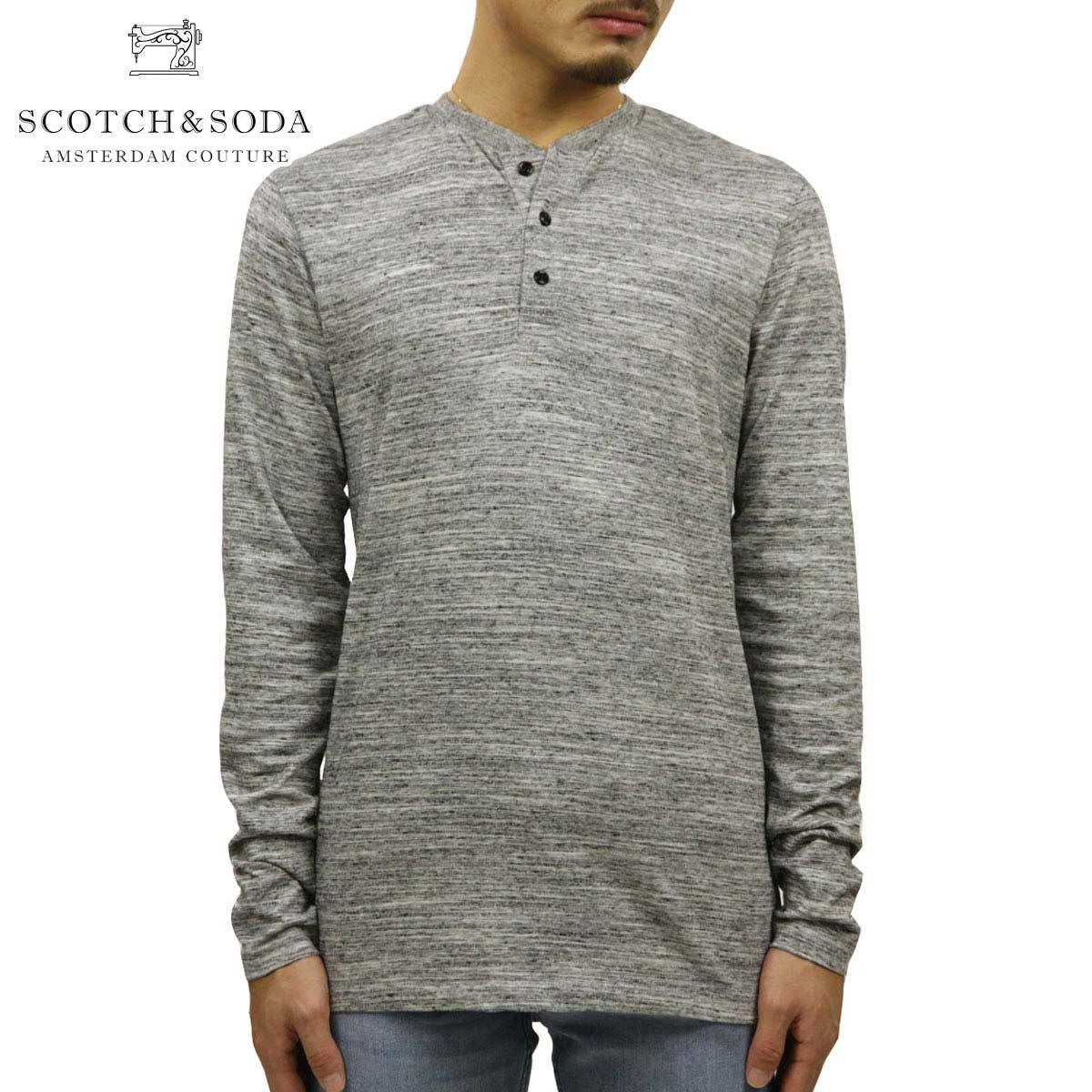 スコッチアンドソーダ Tシャツ 正規販売店 SCOTCH&SODA 長袖Tシャツ ヘンリーネックTシャツ CLASSIC LONGSLEEVE GRANDDAD HENRY TEE GREY MELANGE 152253 83402 05