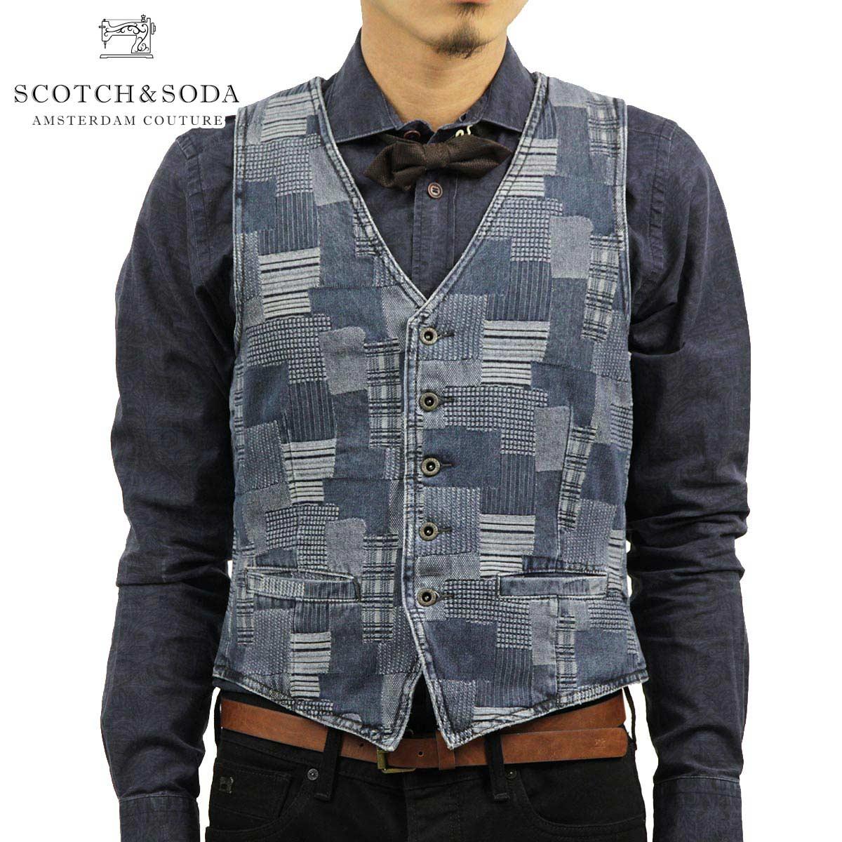 スコッチアンドソーダ SCOTCH&SODA 正規販売店 メンズ ジレ ベスト LOT 22 Japanese Jacquard Tailored Vest 30315 51