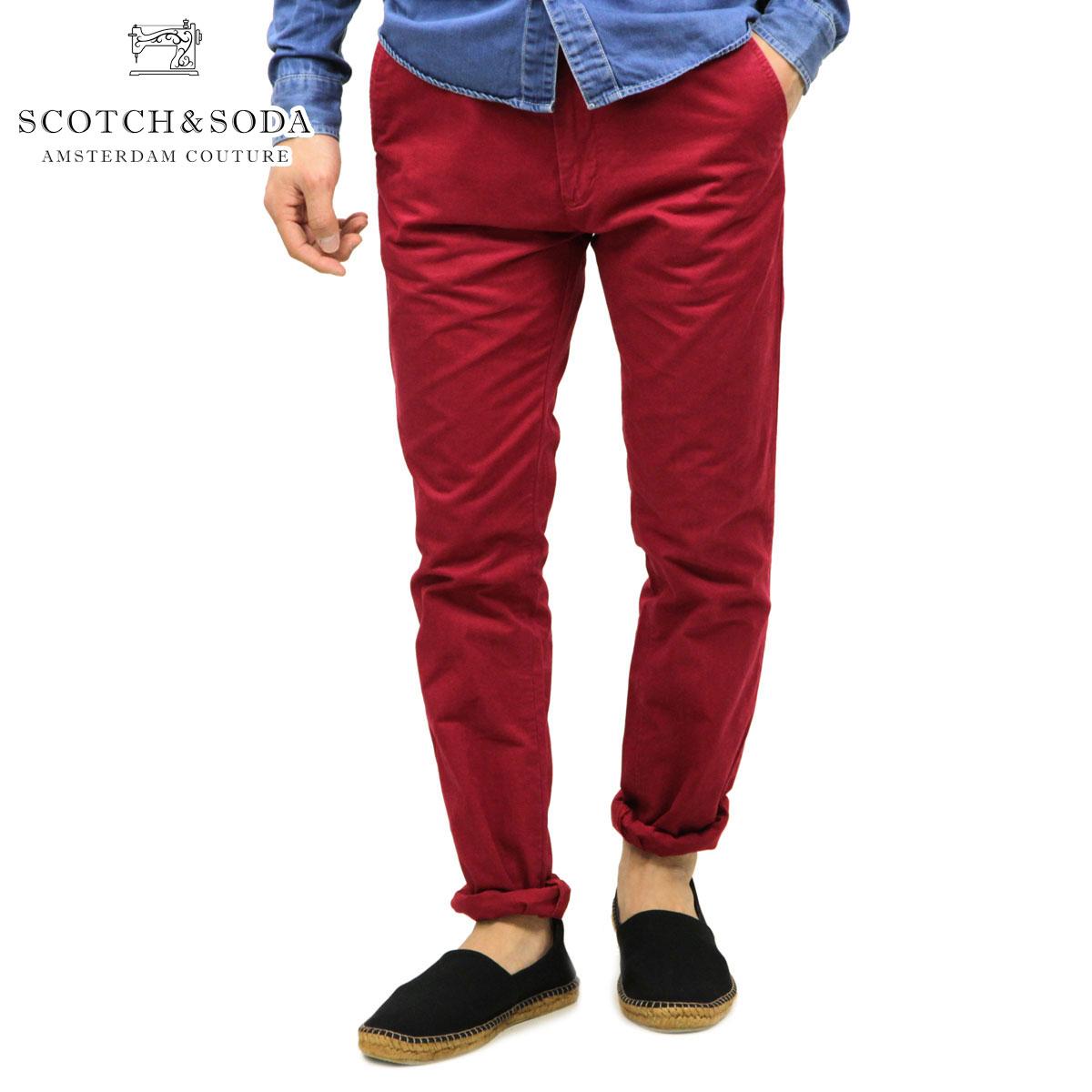 スコッチアンドソーダ SCOTCH&SODA 正規販売店 メンズ チノパンツ Basic pima cotton twill chino 80003 28 RED D15S25