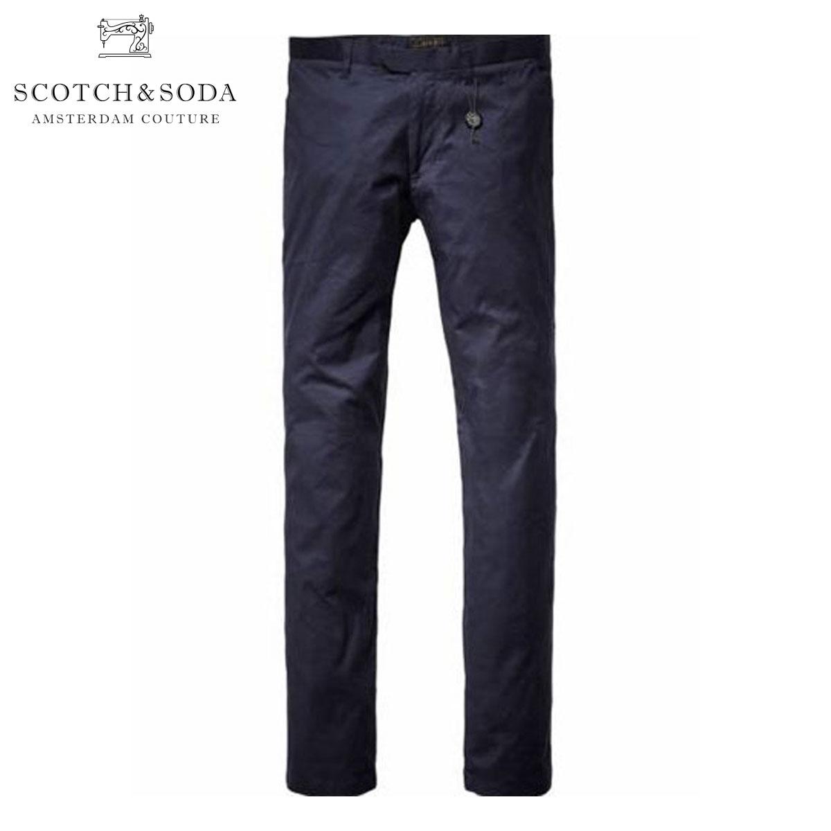 スコッチアンドソーダ SCOTCH&SODA 正規販売店 メンズ ロングパンツ Dress pant in satin look 80030 57 NAVY D15S25