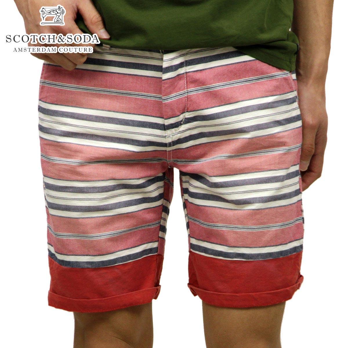 スコッチアンドソーダ SCOTCH&SODA 正規販売店 メンズ ショートパンツ Printed/yarn dye indigo slim fit chino short serie with bright roll-up 81107 D D15S25