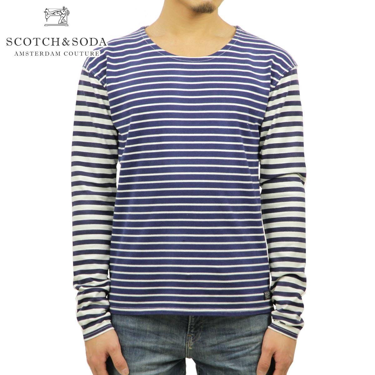 スコッチアンドソーダ Tシャツ メンズ 正規販売店 SCOTCH&SODA 長袖Tシャツ Mix and match yarn dyed boat neck breton 50302 A