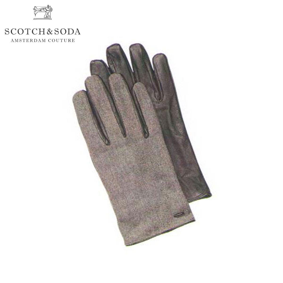 【販売期間 8/10 13:00~8/16 9:59】 スコッチアンドソーダ SCOTCH&SODA 正規販売店 メンズ 手袋 Woolen gloves with leather details 79180 940