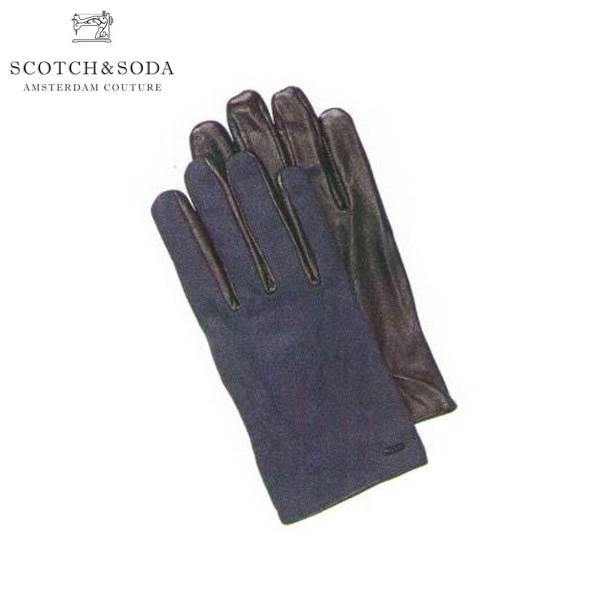 【販売期間 7/9 16:00~7/19 9:59】 スコッチアンドソーダ SCOTCH&SODA 正規販売店 メンズ 手袋 Woolen gloves with leather details 79180 370