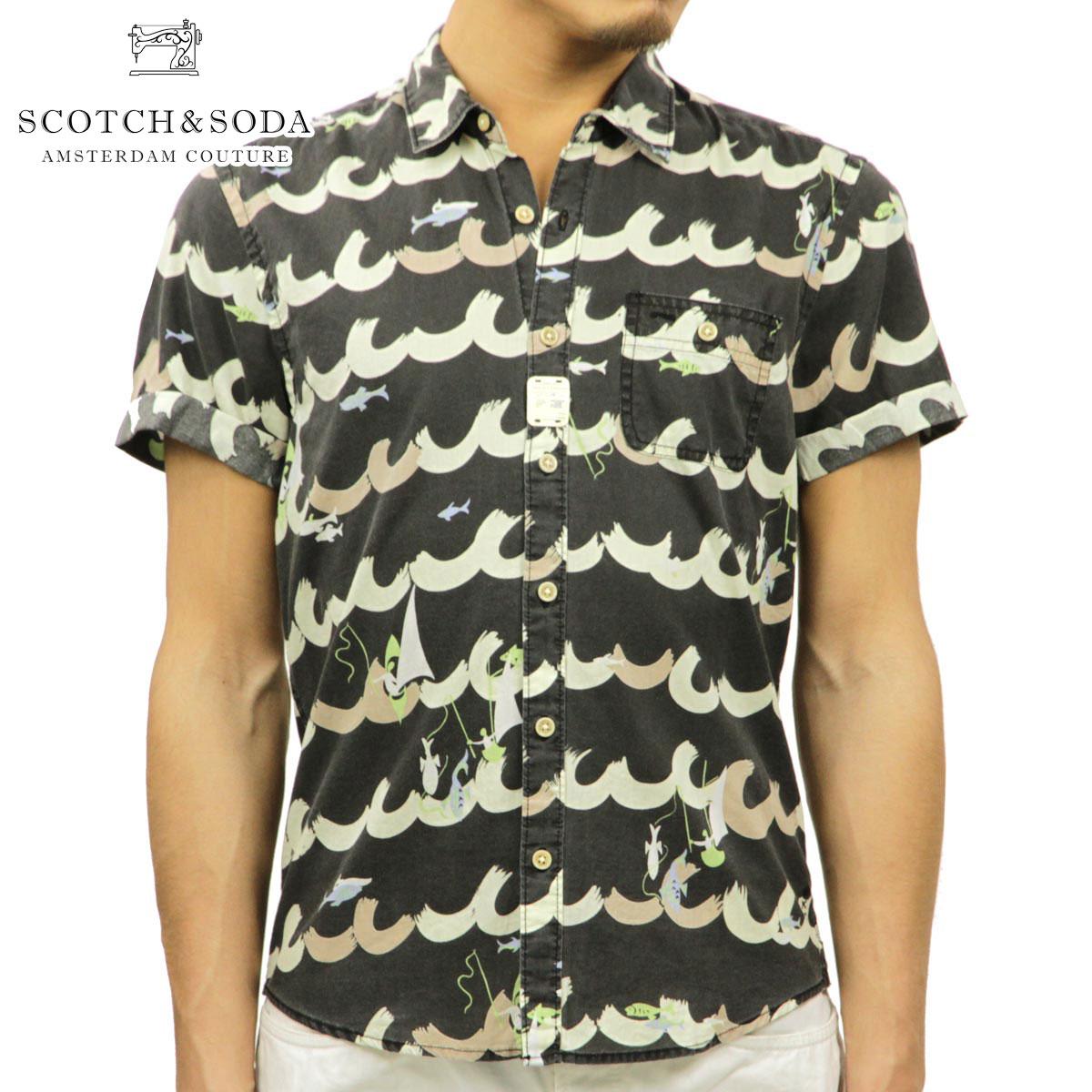 【販売期間 4/2 10:00~4/8 09:59】 スコッチアンドソーダ SCOTCH&SODA 正規販売店 メンズ 半袖シャツ Allover print short sleeve Miami shirt 21304 B D15S25