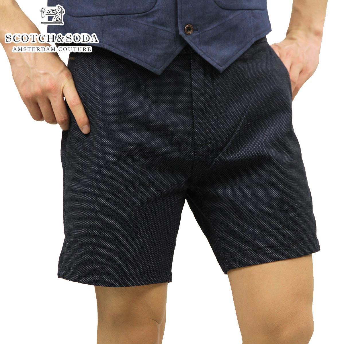 スコッチアンドソーダ SCOTCH&SODA 正規販売店 メンズ ショートパンツ Blue yarn dye dress chino short 81141 B D15S25