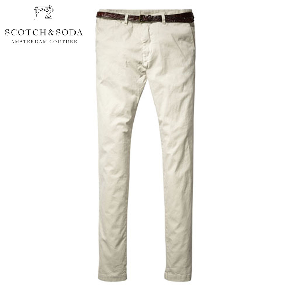スコッチアンドソーダ SCOTCH&SODA 正規販売店 メンズ チノ Basic garment dyed chino. Slim fit - Stuart. Sold with belt 80001 07 D15S25